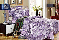 Постельное белье, комплект Евро размер сатин жаккардовый фиолетовый сиреневый