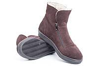 Зимние коричневые замшевые ботинки на молнии