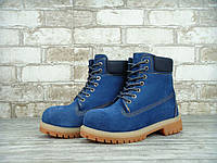 Зимние ботинки женские Timberland 6 Inch Blue Реплика