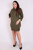 Платье большого размера Симона замшевое, замшевое платье, дропшиппинг