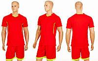Футбольная форма для команд подростковая Grapple CO-7055B-R (PL, крас-салат, шорты красные)