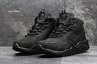 Мужские ботинки Nike Air Huarache Зима. Нубук Мех 100% Черные