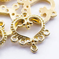 Коннектор сердце, золото, 6 отверствий
