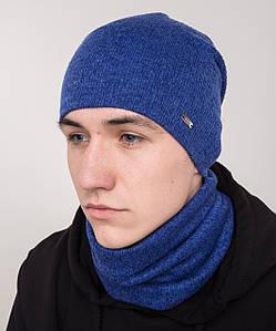 Зимний вязанный мужской комплект из шапки и хомута - Артикул 2139
