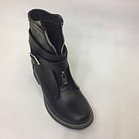 Женские зимние ботинки со змейкой и пряжкой из натуральной кожи