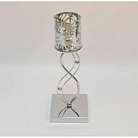 Подсвечник- ваза (42*10 см) металл, стекло