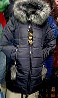 Модная зимняя женская куртка с мехом (44-52), доставка по Украине