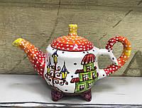 Чайник керамический расписной Домики 2
