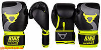 Боксерские перчатки Ringhorns Charger Black/Neo Yellow 10 oz, фото 1
