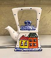 Чайник керамический расписной Домики 3