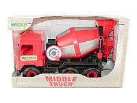 """Детская игрушка машинка WADER """"Бетономешалка"""" красная в коробке"""