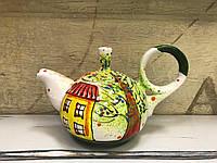 Чайник керамический расписной Домики 4