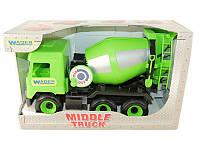 """Детская игрушка машинка WADER """"Бетономешалка"""" зелёная в коробке"""