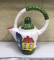 Чайник керамический расписной Домики 5
