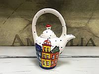 Чайник керамический расписной Домики 6