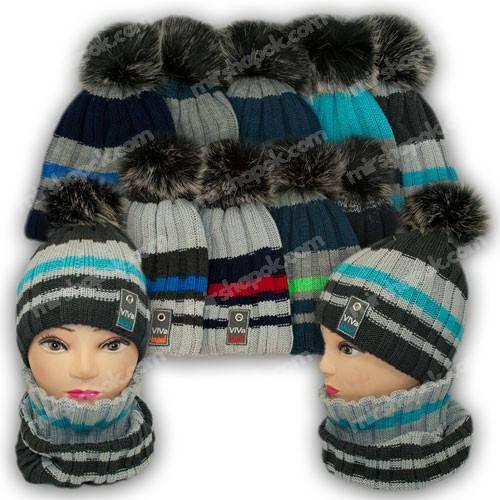 Комплект шапка и шарф (труба) для мальчика, р. 50-52, подкладка флис, 7029P