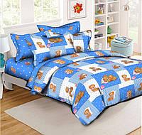 """Детский комплект в кроватку из Ранфорса 110х140""""Тедди на голубом фоне"""""""