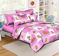 "Детский комплект в кроватку из Ранфорса 110х140 ""Тедди на розовом фоне"""