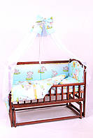 Постельный комплект в детскую кроватку 8-ми предметный, №32,1  слонята на голубом