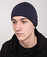 Вязаная повседневная мужская шапка сине-серого цвета
