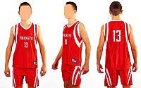 Форма баскетбольная подростковая NBA ROCKETS 13 CO-0038-7(M) (PL, р-р М-135-145см, красный), фото 1