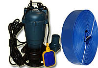 Фекальный насос чугунный корпус с измельчителем H.World + польский шланг 25м