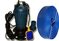 Фекальный насос чугунный корпус с измельчителем EVRO FORWATER QWD 10-10-1100 + польский шланг 25м