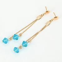 Серьги-протяжки 95621 размер 73*8 мм, голубые камни, позолота 18К