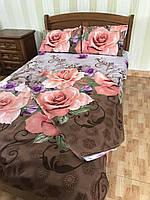 """Полуторный комплект постельного белья из полиэстера """"Роза на шоколадном фоне"""""""