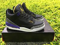 Кроссовки Nike Air Jordan 3 Black/Purple Cement реплика