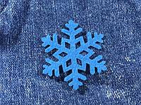 Снежинка декор термо цвет синий 50х43 мм