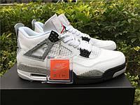 Кроссовки Nike Air Jordan 4 White Cement реплика, фото 1