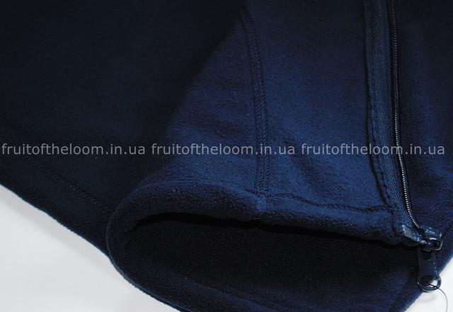 Тёмно-синяя мужская классическая флисовая кофта на замке