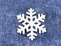 Снежинка декор термо цвет белый 50х43 мм