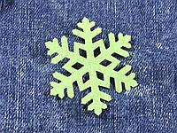 Снежинка декор термо цвет салатовый 50х43 мм