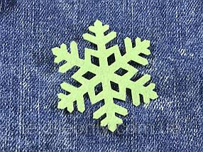Сніжинка декор термо колір салатовий 50х43 мм