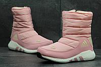 Зимние женские дутики Adidas розовые 3675