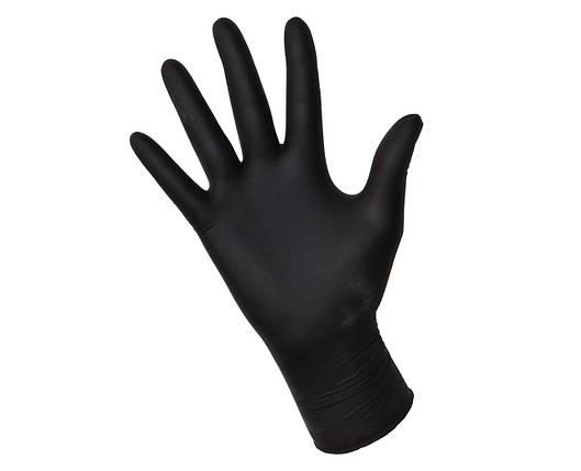Нітрилові рукавички Чорні 100шт / уп. (50 пар) щільні, фото 2