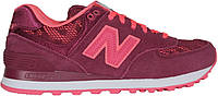 Женские кроссовки New Balance 574 Nouveau Lace Fuchsia (Нью Баланс) бордовые