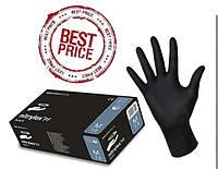 Черные нитриловые одноразовые перчатки 100шт/уп.