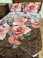 """Двуспальный комплект постельного белья 180*220 из полиэстера """"Роза на шоколадном фоне"""""""