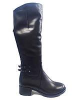 Кожаные женские зимние черные сапоги Romax 6302