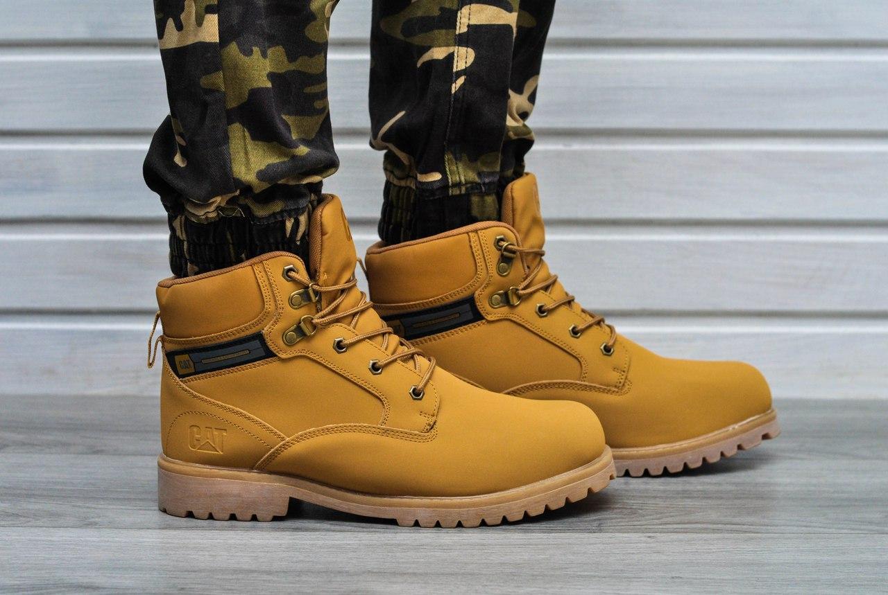 Мужские ботинки CAT зимние на меху (желтые), ТОП-реплика