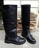 Женские зимние черные сапоги с камнями натуральная кожа низкий ход