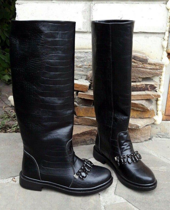 4c9db850e Женские зимние черные сапоги с камнями натуральная кожа низкий ход - ГЛЯНЕЦ  | Интернет-магазин