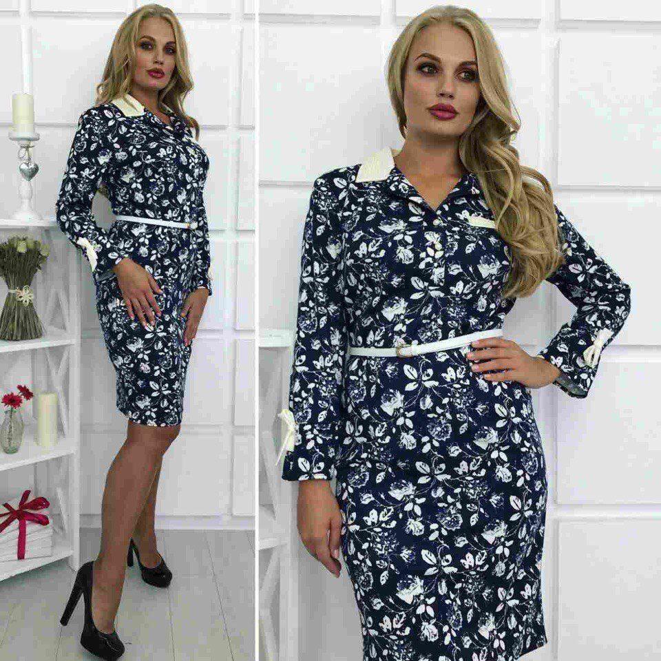 """Романтическое женское платье ткань """"Французский трикотаж""""  50, 52, 54  размер батал"""