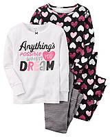 Комплект пижам из 4-х вещей с сердечками Carters для девочки