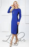 """Нежное женское платье ткань """"Стеганый трикотаж"""" с отделкой ЭкоКожи  44, 46, 48, 50  размер норма"""