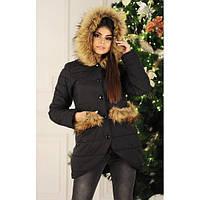 Черная женская куртка с меховой опушкой