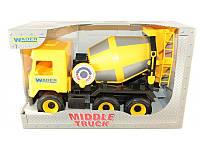 Детская игрушка машинка WADER Бетономешалка жёлтая в коробке
